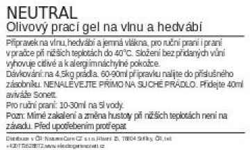 Sonett Prací gel olivový na vlnu a hedvábí Neutral 1 l