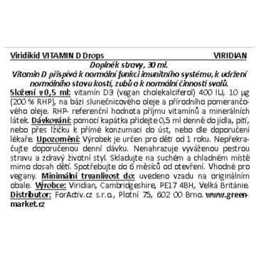 Viridian Viridikid Vitamin D 400iu, kapky 30 ml